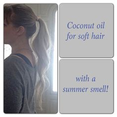 I've been using coconut oil to treat my hair this year instead of store bought hair treatments.  Wet your hair and work a small amount of coconut oil into the hair down to the ends. Put extra focus on the ends and avoid the scalp. Wrap your hair up in a bun and cover with a shower cap to seal from the air. Leave in hair for about an hour. Rinse a few times then shampoo and condition as usual.