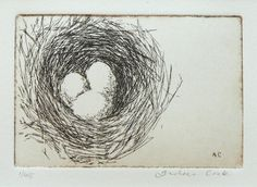 original etching of a birds' nest with 3 eggs by atelier28 on Etsy https://www.etsy.com/uk/listing/70183155/original-etching-of-a-birds-nest-with-3