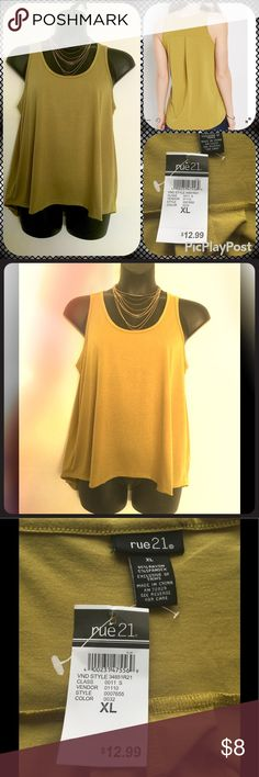 Selling this A lovely Olive Pleated Back Tank Top on Poshmark! My username is: debbu. #shopmycloset #poshmark #fashion #shopping #style #forsale #Rue 21 #Tops