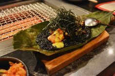 Takashi - New York, NY, United States. Squid Ink Rice and Miso-Marinated Sweetbreads