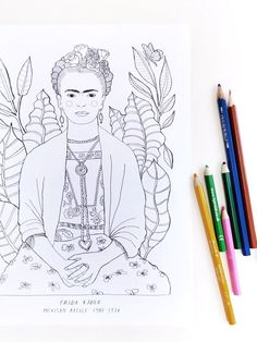 Frida Kahlo Colouring In-Sheet Colouring, Diys, Crafts For Kids, Red, Blog, Frida Kahlo, Crafts For Children, Bricolage, Kids Arts And Crafts