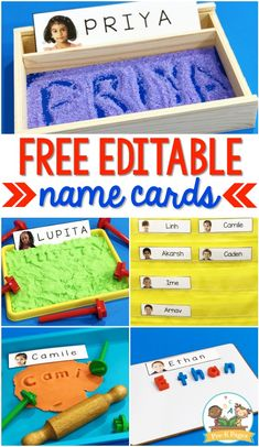 These editable name cards allow you to quickly and easily add your students pictures as well as type their names directly into the document! Name Activities Preschool, Preschool Printables, Alphabet Activities, Preschool Classroom, Preschool Pictures, Preschool Sign In, Kindergarten Literacy, Group Activities, Letter Recognition Games