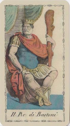 king of clubs    Ancient Tarot of Lombardy deck  Milan,Italy   1810.