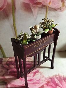 Antique/vintage dolls house flower stand/voliere with 3 flower pots