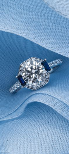 Introducing the new @m_lhuillier Sapphire Diamond Halo Engagement Ring available at bluenile.com