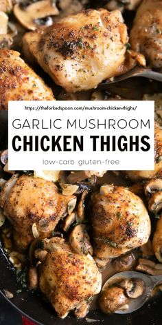 These garlic mushroom chicken thighs are as juicy as they are delicious! Easy to make and loved by the whole family, bone-in skin-on chicken thighs are seared and then baked in a light and flavorful white wine sauce with plump mushrooms and sliced garlic. Turkey Recipes, Pork Recipes, Real Food Recipes, Chicken Recipes, Healthy Recipes, Chicken Meals, Garlic Mushrooms, Stuffed Mushrooms, Stuffed Peppers