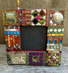 Intricate Eclectic Style Mosaic Mirror/ Picture Frame - Mini Raja via Etsy. Mosaic Garden Art, Mosaic Flower Pots, Mosaic Diy, Mosaic Crafts, Mosaic Projects, Mosaic Tiles, Mirror Mosaic, Mosaic Glass, Glass Art