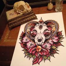 cat skull tattoos - Google Search Skull Design, Cat Design, Trendy Tattoos, New Tattoos, Cat Skull Tattoo, Sugar Tattoo, Cat Flowers, Tattoo Illustration, Mermaid Tattoos
