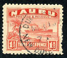 """Nauru  1924 Scott 19 1 1/2p red """"Freighter"""" Unsurfaced grayish paper"""