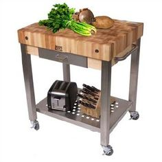 John Boos Cucina Americana Kitchen Cart with Wood Top Counter Top Height: Drawers: 1 Included Butcher Block Kitchen Cart, Boos Butcher Block, Maple Butcher Block, Kitchen Island Cart, Kitchen Carts, Butcher Blocks, Kitchen Islands, Kitchen Ideas, Kitchen Stuff
