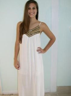 White Beaded Maxi Dress# @Pure Dash