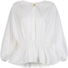 Sonia Rykiel Ivory Cotton Elasticated Hem Blouse ($485) ❤ liked on Polyvore featuring tops, blouses, elastic hem tops, ivory peplum top, smock top, cotton blouse and cotton peasant tops