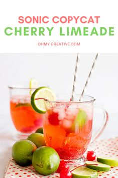This Cherry Limeade Recipe is a delicious easy to make drink. Similar to your favorite restaurant cherry limeade drink that can easily make at home! Summer Drink Recipes, Drinks Alcohol Recipes, Non Alcoholic Drinks, Summer Drinks, Cocktail Recipes, Cocktails, Beverages, Holiday Drinks, Sonic Limeade Recipe