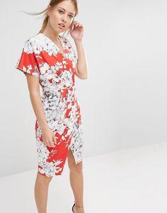 Closet London | Closet Floral Print V-Neck Cross Over Midi Dress