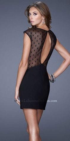 La Femme Short Cocktail 20577 Chic cocktail dress with sheer polka dot cap sleeves and side panels. Lovely Dresses, Elegant Dresses, Homecoming Dresses 2014, Dresser, Sheer Gown, Designer Prom Dresses, Rock, Holiday Dresses, Dot Dress