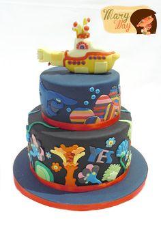 MaryWay Ilustratartas Yellow Submarine Cake Who wouldn't want a Beatles cake? Beatles Cake, Beatles Birthday, 4th Birthday Cakes, Beatles Party, Cupcakes Pastel, Yellow Submarine Cake, Fondant Cakes, Cupcake Cakes, Music Cakes