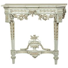 Century Swedish Neoclassical Carrara Marble-Top Painted and Gilded Console Antique Interior, Antique Furniture, Painted Furniture, Modern Furniture, French Furniture, Carrara Marble, Marble Top, Classical Elements, Gold Highlights