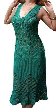 How to Crochet a Little Black Crochet Dress - Crochet Ideas Filet Crochet, Irish Crochet, Crochet Lace, Crochet Skirts, Crochet Clothes, Crochet Woman, Crochet Fashion, Beautiful Crochet, Knit Dress