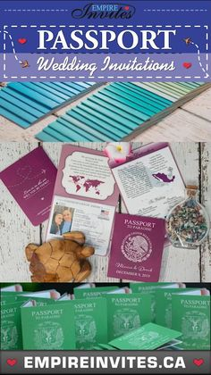 collection of passport themed invitations for your destination wedding#passportinvitations #passportweddinginvitations #destinationinvitations #destinationweddinginvitations Wedding Invitations Canada, Destination Wedding Invitations, Wedding Invitation Design, Cruise Ship Wedding, Star Wars Wedding, Office Designs, Ideas Para, Wedding Cards, Collection