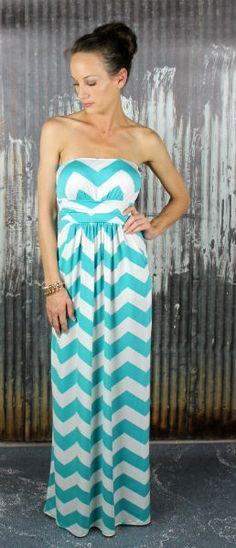 Aqua Chevron Maxi Dress