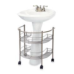 $39.99     BedBathandBeyond.com   Rolling Organizer For Pedestal Sink -  This fits perfectly for a suite bathroom in Meletia. Do you NEED it? Hard to say, wait till you get there and all your roommates move in to determine how much extra storage you might need.