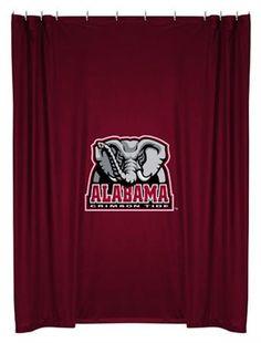 NCAA Alabama Crimson Tide 4 pc Bath Set Includes 1 Shower Curtain 2 Bath Towels and 1 Bath Rug