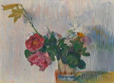 Flowers in a glass of water  -  Cuno Amiet,  1892  Swiss,  1868-1961  Oil on canvas, 23 x 32 cm.