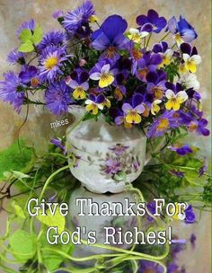 Give Thanks For God's Riches!