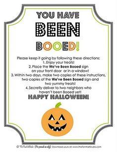 Fun instructions for neighborhood Boo