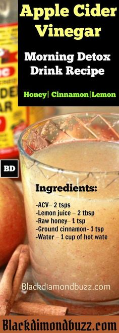 Apple Cider Vinegar Detox Drink Recipe ( Honey, Cinnamon, and Lemon) for Fat Burning – Drink this Early in the Morning and Before Going to Bed at Night