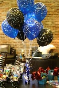 Could make these with paint, just splatter on balloons! star wars party balloons decorations table centerpiece