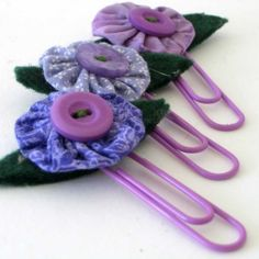 Fabric Yoyo and Buttons Bookmark Paperclip by BigIslandRoseDesigns, $6.00