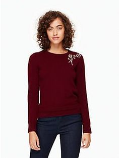 embellished brooch sweater by kate spade new york