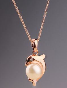 Gold Pearl Dolphin Necklace