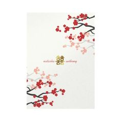 Red Sakuras Gold Double Happiness Chinese Oriental Wedding Invitation by fatfatin
