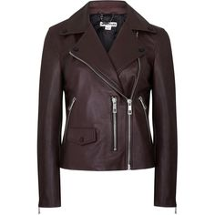 Womens Leather Jackets Whistles Agnes Bordeaux Leather Biker Jacket (£330) ❤ liked on Polyvore