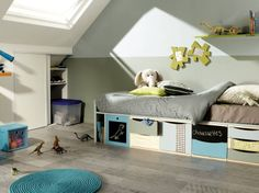1000 images about combles on pinterest sloped ceiling - Meuble de rangement chambre garcon ...