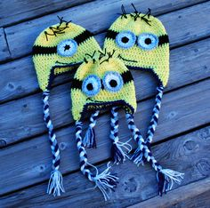 Minion Hats  Crochet Minion Hats with Ear Flaps by alanemarie, $20.00