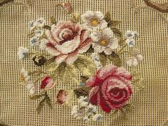 This is a PREWORKED needlepoint canvas creation. Fine wool &SILK thread on cotton canvas . Canvas Size: x Cross Stitch Pillow, Cross Stitch Rose, Cross Stitch Embroidery, Hand Embroidery, Vine Design, Tunisian Crochet, Needlepoint Canvases, Embroidered Flowers, Pink Roses