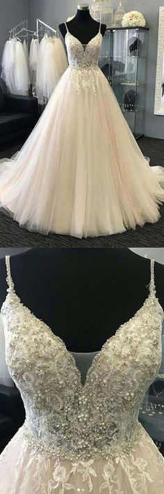 A-Line Straps Ivory Tulle Wedding Dress with Appliques Beading WD228 #weddings #weddingdress #tulle #ivory #pgmdress #beading #dreamwedding