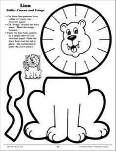 Lion (Curves and Fringe): Scissor Skills - Printable Worksheet Scissor Practice, Cutting Practice, Scissor Skills, Classroom Crafts, Preschool Activities, Preschool Worksheets, Dementia Activities, Time Activities, Physical Activities