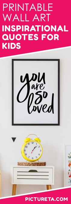 Printable wall art - inspirational quotes for kids, nursery decor, you are so loved Instant Download - Pictureta.com #printables #nurserydecor #inspirationalquotes