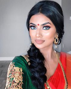 Classic, Traditional South Asian Glam ❤ It wouldn't be a look if I didn't match my liner to my blouse 🤭😏 _… Indian Makeup Looks, Bridal Makeup Looks, Bride Makeup, Indian Makeup Natural, Indian Eye Makeup, South Indian Makeup, Wedding Guest Makeup, Indian Wedding Makeup, Indian Inspired Makeup