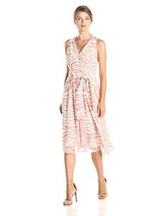 Anne Klein Printed Chiffon V Neck Midi Dress, Petal/White - http://www.womansindex.com/anne-klein-printed-chiffon-v-neck-midi-dress-petalwhite/