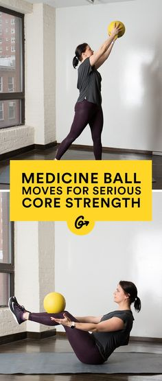 Workout Exercise 10 Medicine Ball Moves to Build Serious Core Strength Advanced Core Exercises, Core Exercises For Women, Core Exercises For Beginners, At Home Core Workout, Abs Workout For Women, At Home Workouts, Ball Workouts, Swimming Workouts, Swimming Tips