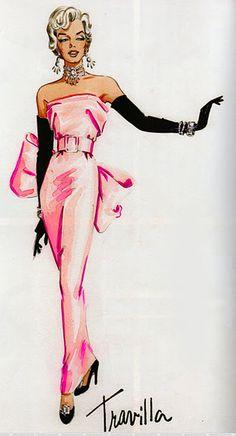 Travilla's costume sketch for Marilyn Monroe in Gentlemen Prefer Blondes (1953)