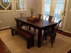 James+James 6 foot Farmhouse Style Table with a traditional top stained in Kona with a satin finish.
