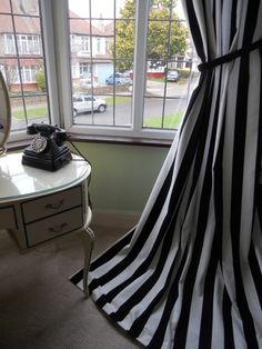 Extra Long Lined Black U0026 White Stripe Curtains U0026 Laura AshleyTie Backs ...