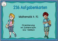 Aufgabenkarten Orientierung im ZR bis 1 Million Task Cards: Orientation in the extended number range E Cards, Task Cards, Math Workshop, Math Classroom, Maths, School Humor, Primary School, Back To School, Amigurumi