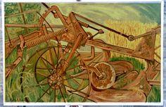 """Old plough"" B.R.Barber oil on hardboard 1965"